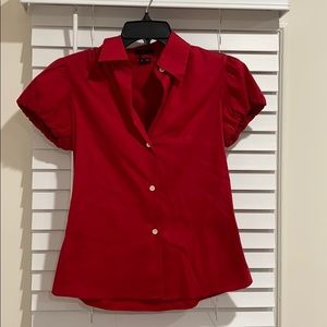 Theory Red Short Sleeve Blouse